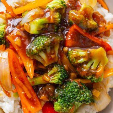 Chinese Garlic Sauce and veggies close up