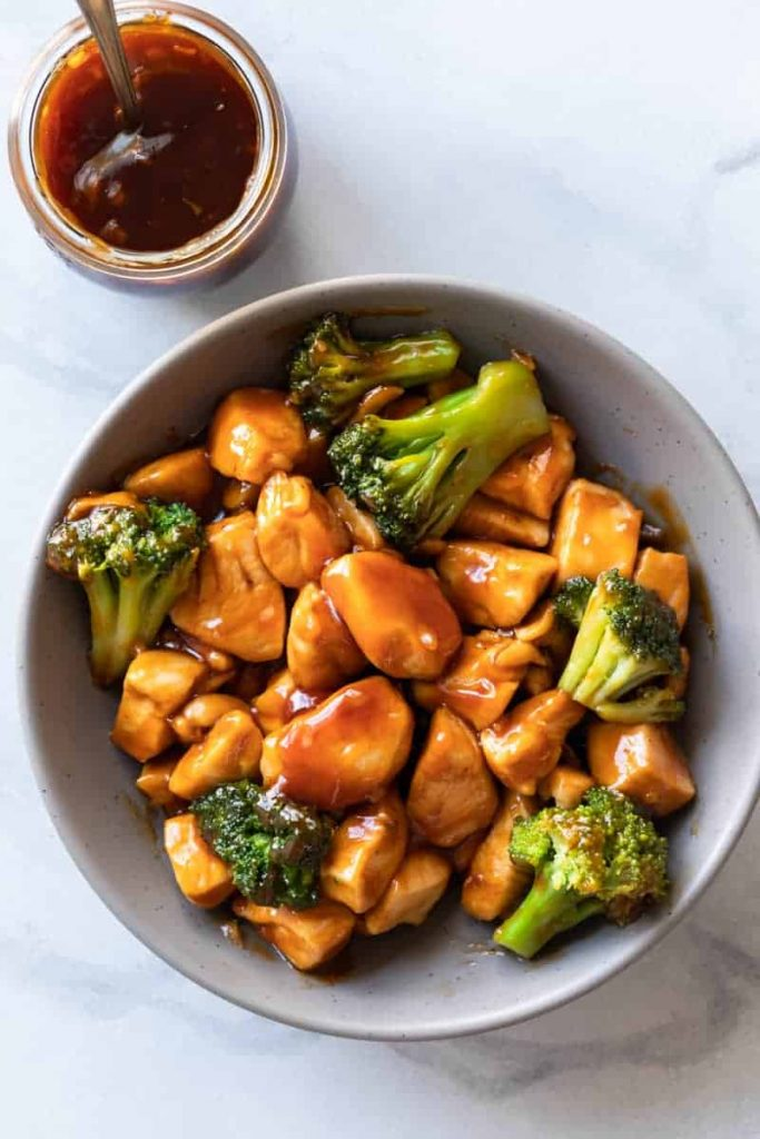 Sesame Chicken Sauce over chicken and broccoli